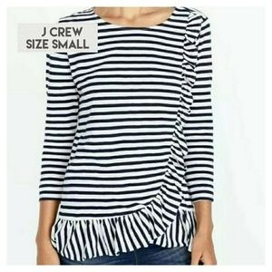 Boho Crew Striped Ruffle 3/4 Sleeve Top Size Small
